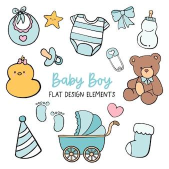 Elemento de design plano de menino bebê.