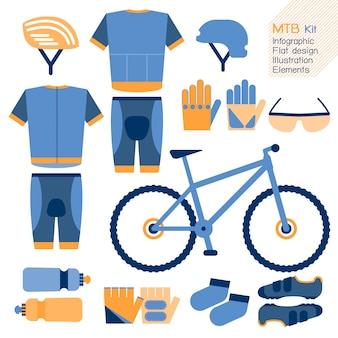 Elemento de design plano infográfico de kit de bicicleta de montanha.
