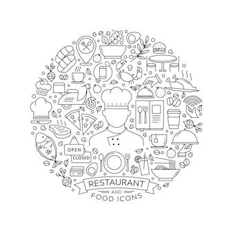 Elemento de design redondo com ícones de restaurante