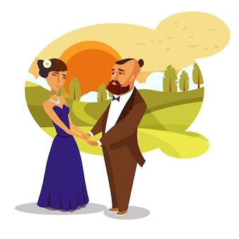 Elemento de design romântico vector lua de mel.