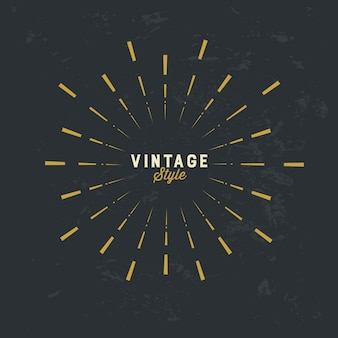 Elemento de design vintage sunburst ouro