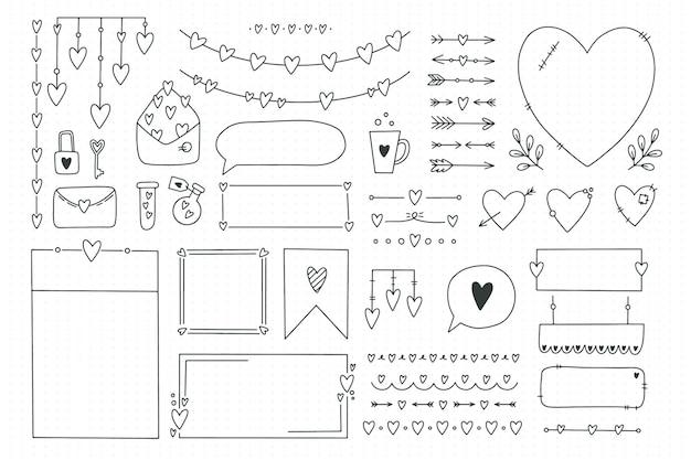 Elemento de diário de bala fofo doodles com corações, tema de amor. banners desenhados à mão e marcas para caderno, planejador ou diário. quadros, bordas, vinhetas, divisórias, notas, coleção de listas. ilustração em vetor