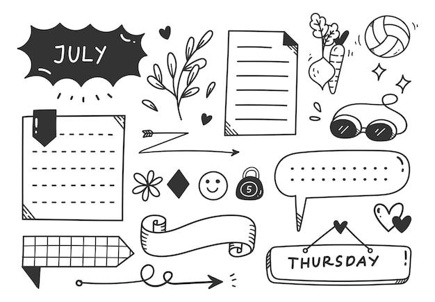 Elemento de doodle de diário de tema de esporte ou exercício desenhado à mão