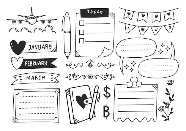 Elemento de doodle de diário fofo desenhado à mão