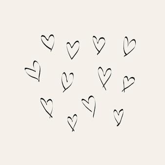 Elemento de doodle de tinta de corações, ilustração vetorial desenhada à mão simples