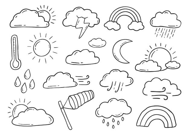 Elemento de doodle meteorológico desenhado à mão