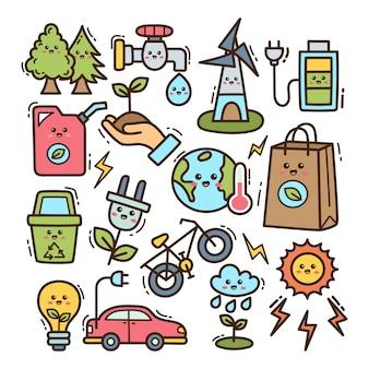 Elemento de ecologia na ilustração de doodle kawaii
