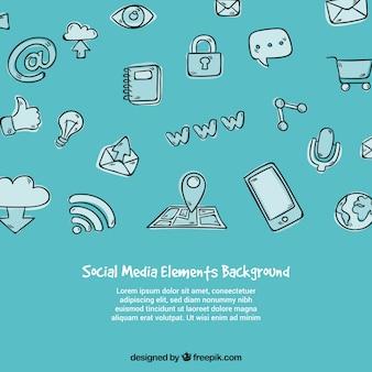 Elemento de elementos da mídia social