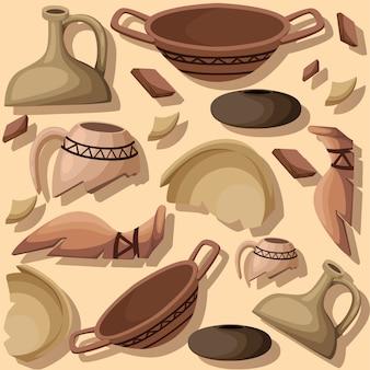 Elemento de escavação arqueológica de conceito de arqueologia e paleontologia. história antiga achaeologists desenterrar ilustração artefatos antigos