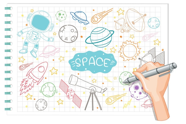 Elemento de espaço de desenho à mão doodle no papel