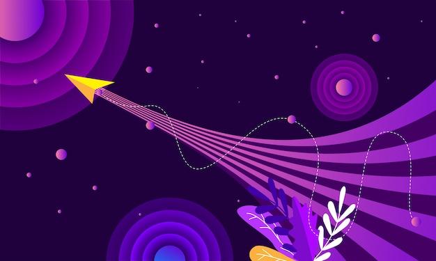 Elemento de espaço sideral abstrato foguete
