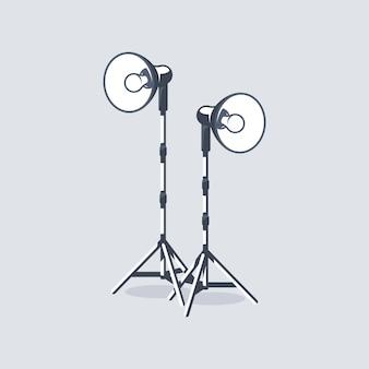 Elemento de estúdio fotográfico isolado no fundo branco