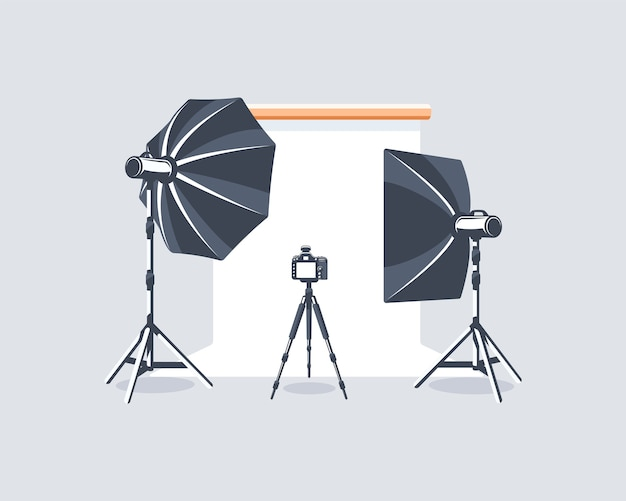 Elemento de estúdio fotográfico isolado no fundo branco.