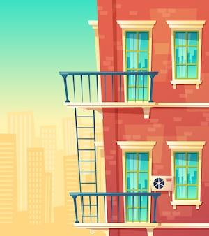 Elemento de fachada de casa, edifício multistoried, apartamentos da cidade