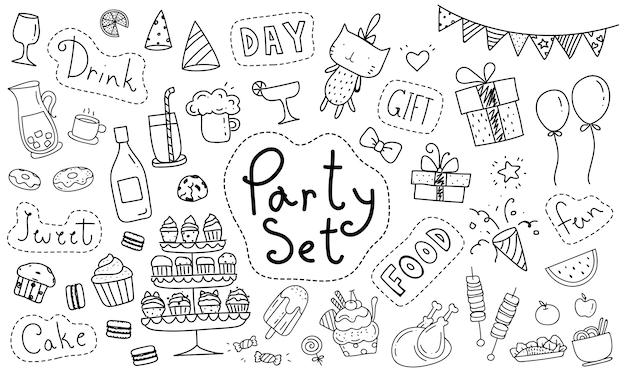 Elemento de festa bonito mão desenhada doodle