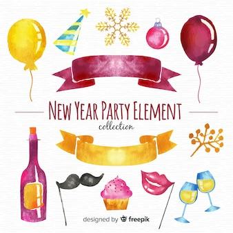 Elemento de festa de ano novo em aquarela