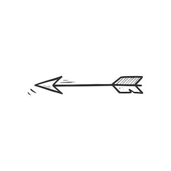 Elemento de flecha de arco desenhado de mão. estilo de desenho do doodle. ícone de seta acústica simples de desenho de linha. ilustração isolada do vetor.