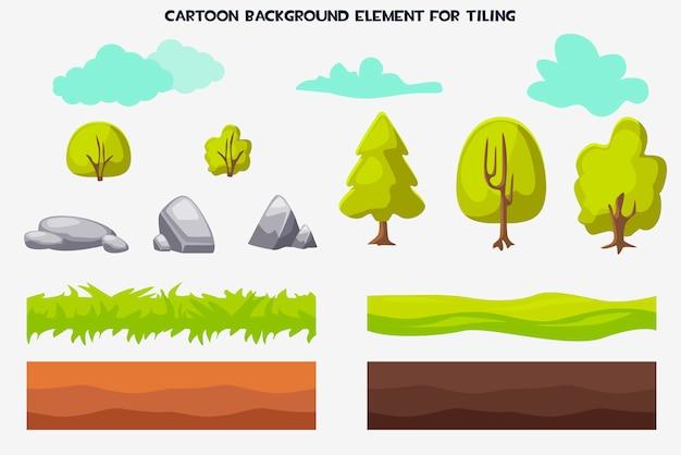 Elemento de fundo dos desenhos animados para a natureza lado a lado