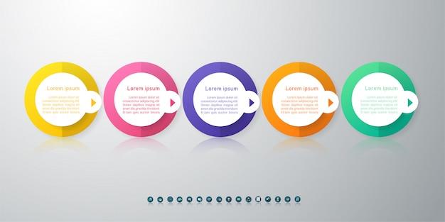 Elemento de gráfico do infográfico 5 opções de modelo de negócios de design.