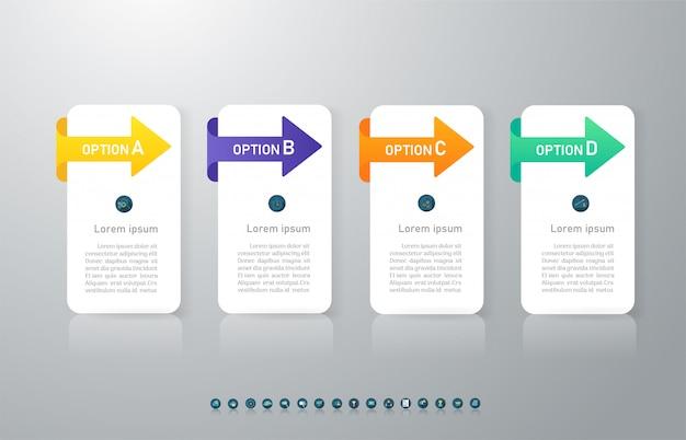 Elemento de gráfico infográfico de opções de modelo 4 de negócios de design.