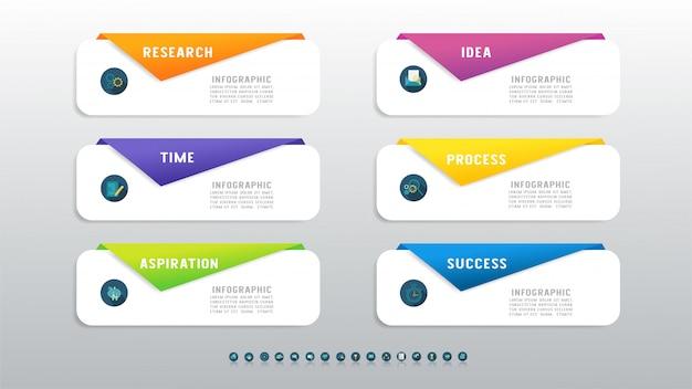 Elemento de gráfico infográfico modelo seis negócios.