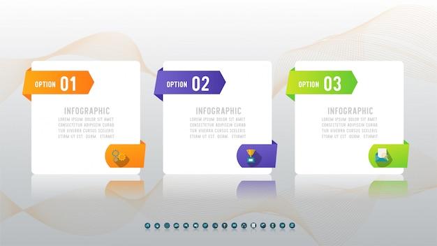 Elemento de gráfico infográfico opção três negócios.