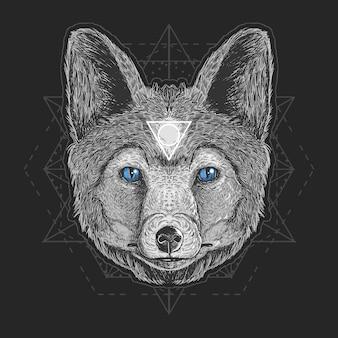Elemento de gravura de vetor de detalhe da cabeça do lobo