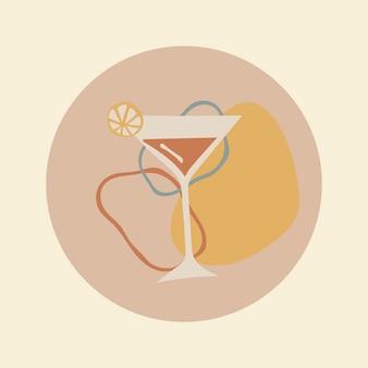 Elemento de ícone de comida martini, capa de destaque do instagram, ilustração de doodle em vetor de design de tom de terra