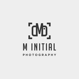 Elemento de ícone de design de vetor de modelo de logotipo de fotografia inicial m