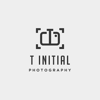 Elemento de ícone de design de vetor de modelo de logotipo de fotografia inicial t