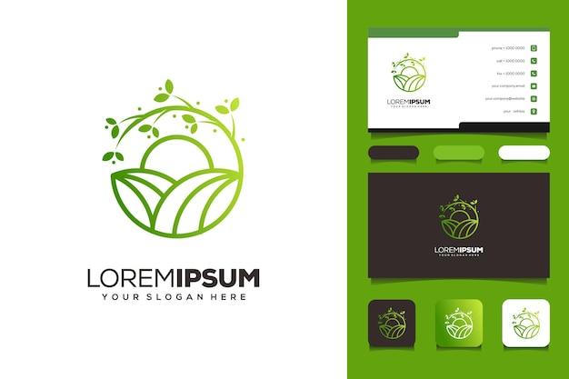 Elemento de ícone de fazenda verde jardim logo modelo cartão de visita