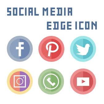 Elemento de ícone simples mídia social plana