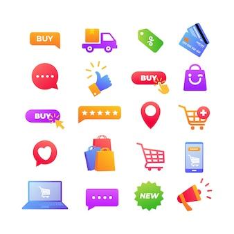 Elemento de ícones de compras online