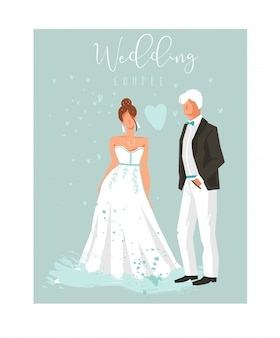 Elemento de ilustrações de casal de casamento de coon de mão desenhada em fundo azul.