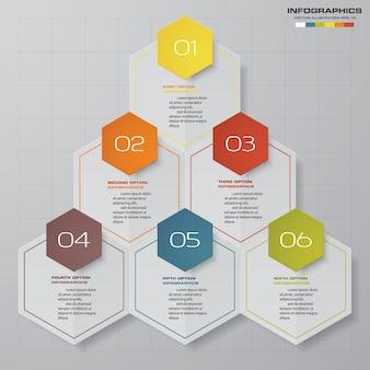 Elemento de infografia com 6 etapas para apresentação de dados.