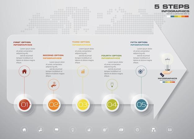 Elemento de infografia com cronograma de seta de 5 passos