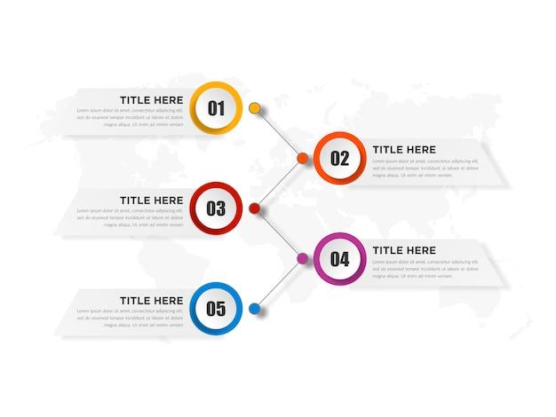 Elemento de infográfico abstrato de cinco pontos com número