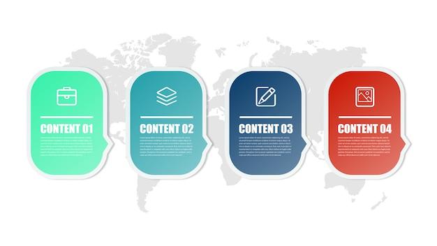 Elemento de infográfico abstrato de sete pontos estratégia de negócios