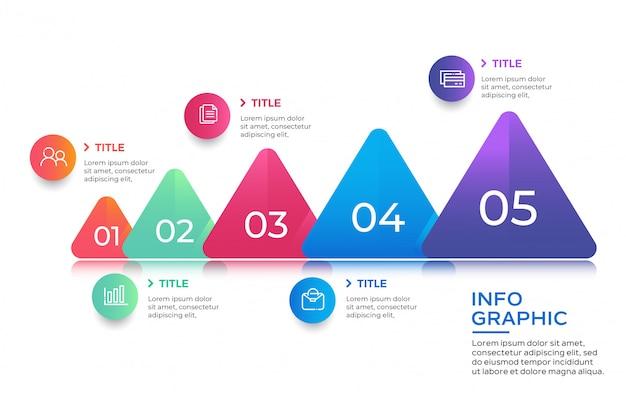 Elemento de infográfico com dados de 5 opções
