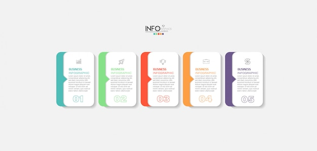 Elemento de infográfico com etapas. pode ser usado para processo, apresentação, diagrama, layout de fluxo de trabalho, gráfico de informações, design de web.
