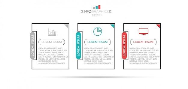 Elemento de infográfico com ícones e 3 opções ou etapas.