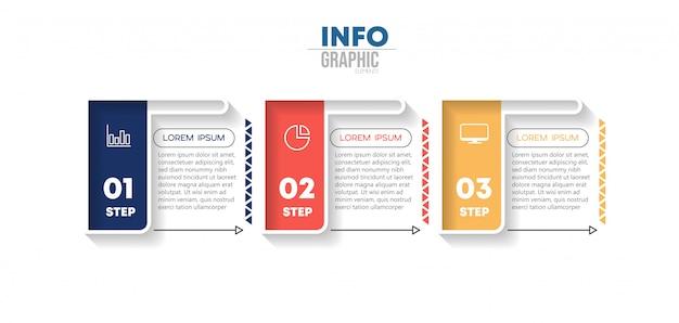 Elemento de infográfico com ícones e 3 opções ou etapas