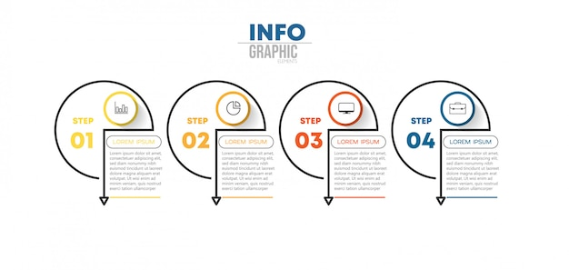 Elemento de infográfico com ícones e 4 opções ou etapas. pode ser usado para o processo, apresentação, diagrama, layout de fluxo de trabalho, gráfico de informação