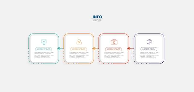 Elemento de infográfico com ícones e 4 opções ou etapas.