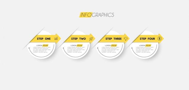 Elemento de infográfico com ícones e 4 opções ou etapas
