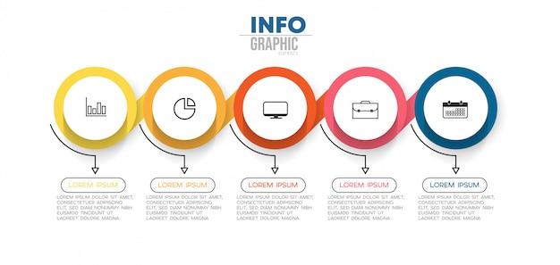 Elemento de infográfico com ícones e 5 opções ou etapas. pode ser usado para o processo, apresentação, diagrama, layout de fluxo de trabalho, gráfico de informação