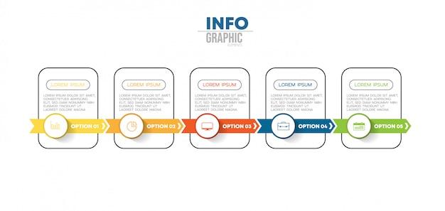 Elemento de infográfico com ícones e 5 opções ou etapas.