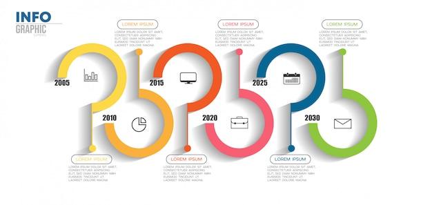 Elemento de infográfico com ícones e 6 opções ou etapas. pode ser usado para o processo, apresentação, diagrama, layout de fluxo de trabalho, gráfico de informação