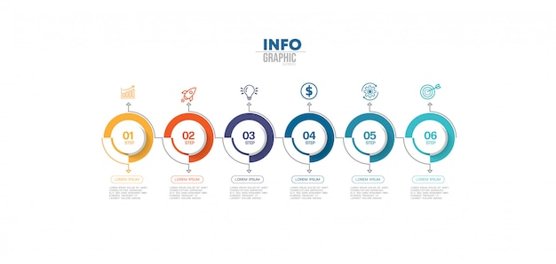 Elemento de infográfico com ícones e 6 opções ou etapas. pode ser usado para processo, apresentação, diagrama, layout de fluxo de trabalho, gráfico de informação, design web.