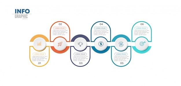 Elemento de infográfico com ícones e 6 opções ou etapas